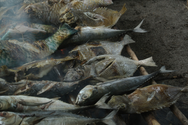 comiendo pescado asado en la isla de karimunjawa