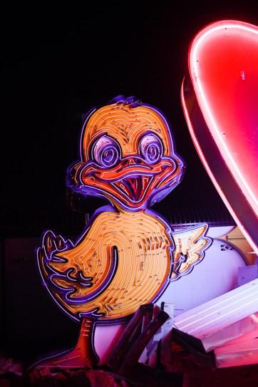 Duck Neon Sign at the Las Vegas Sign Graveyard.