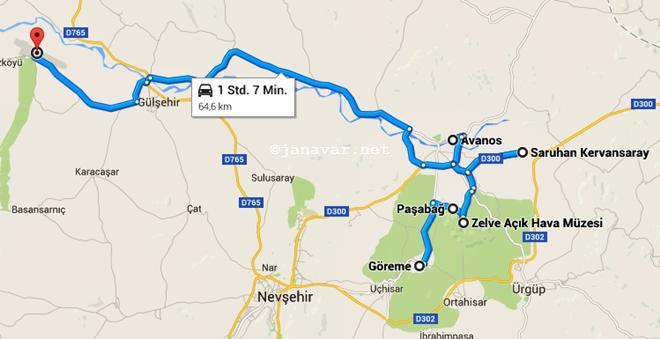 Day 4 Route, Cappadocia