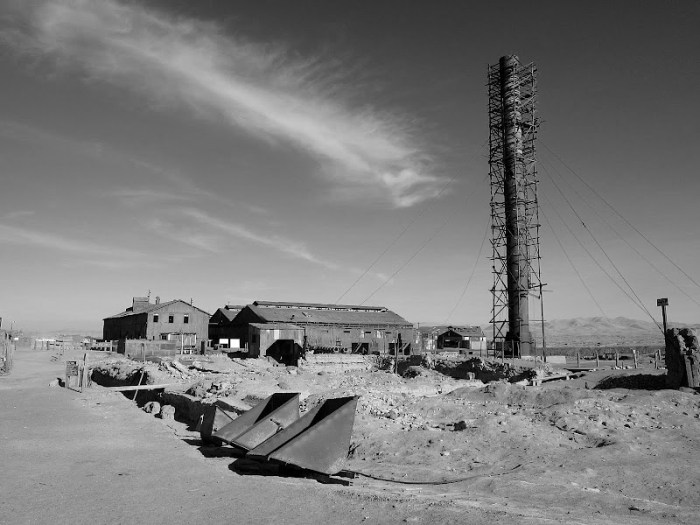 Abandoned mine and its smokestack - Humberstone, Chile