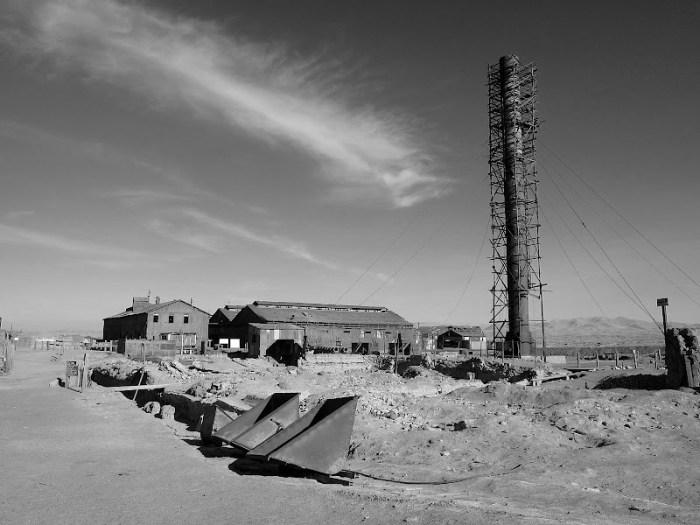 Abandoned mine and its smokestack - Humberstone, Chile