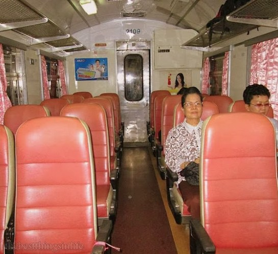 August 2013 - Inside a 2nd class air-conditioned coach train from Bangkok heading towards Nong Khai