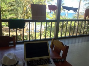 My office in Costa Rica on the hostel porch, right outside my room!
