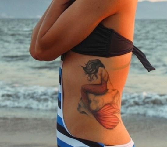 Mermaid Tattoos on side rib cage