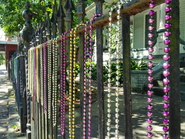 Beads hanging outside of a New Orleans house