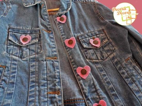 Idea para decorar una chaqueta en San Valentín.