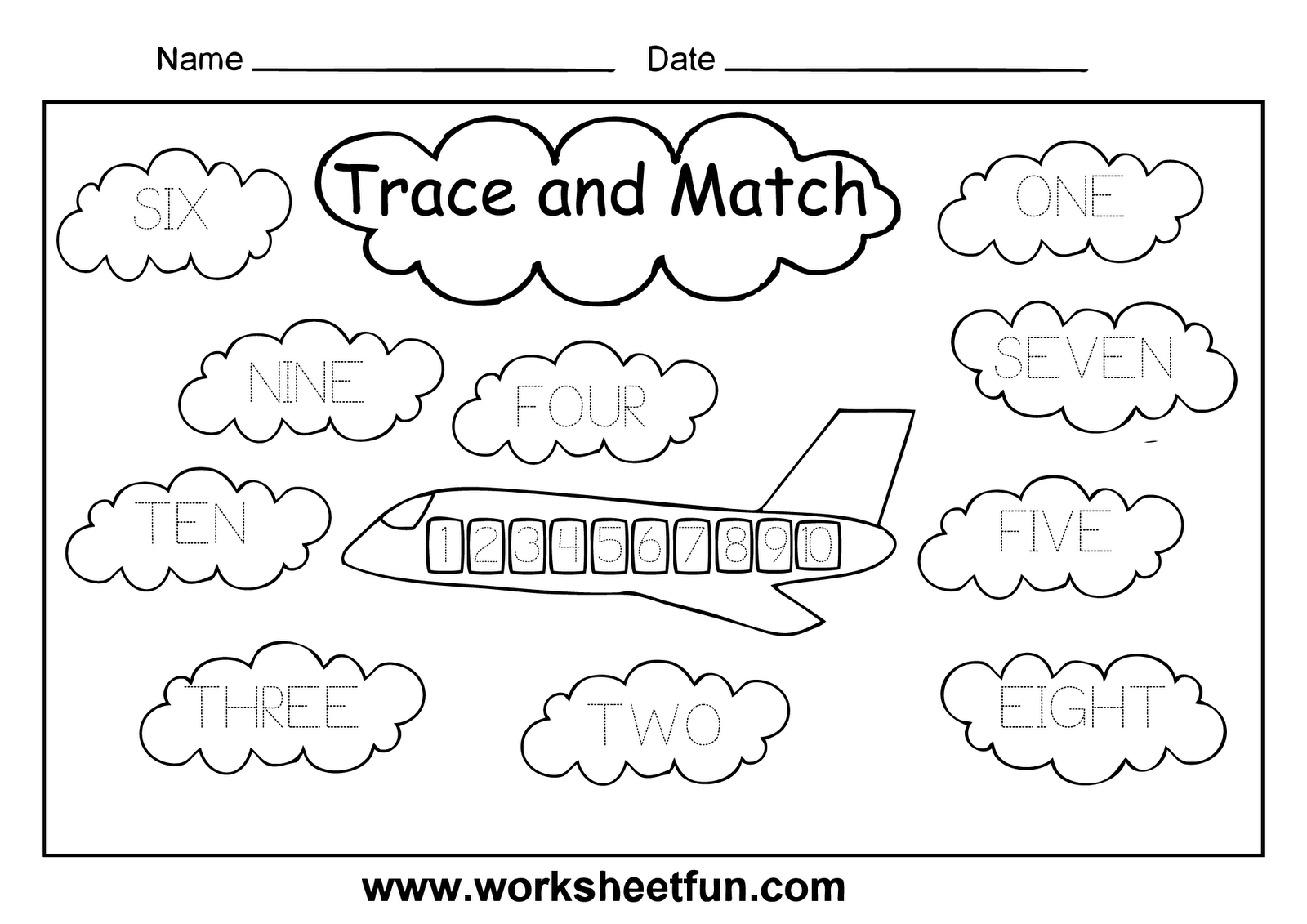 Preschool Worksheet Match Numbers 6 10