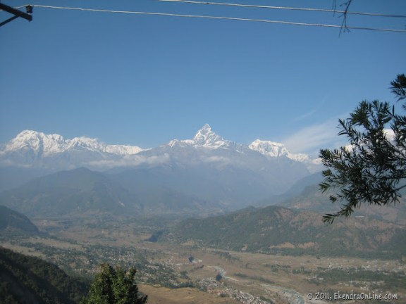 Machhapuchhre and the Northern part of the Pokhara valley, as seen from Sarangkot
