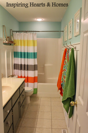 kids beach bathroom, nautical, rope shelf