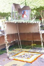 An altar dedicated to the deceased Polish pope John Paul II in the central square (Jardin Allende) of San miguel de Allende, Mexico on the Day of the Dead (Dia de los Muertos).