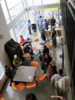 People arriving for the start of WordCamp Nashville, at Watkins College