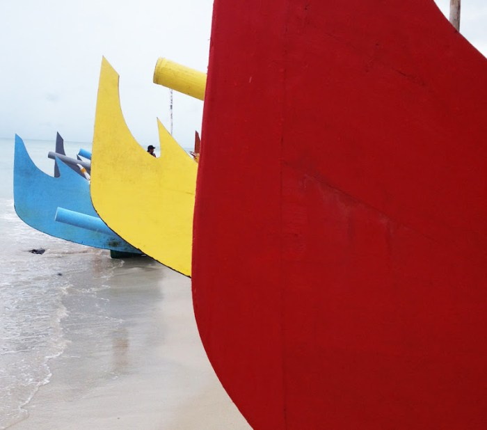 Colorful boats in Pantai Serdang, Belitung