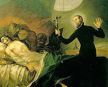 Painting by Francisco Goya of Saint Francis Borgia performing an exorcism.