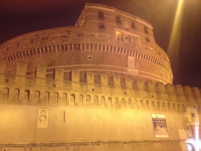 A castle at night in Rome