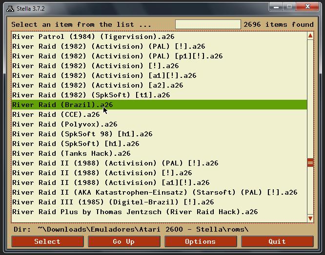 Navegador de arquivos do emulador Stella