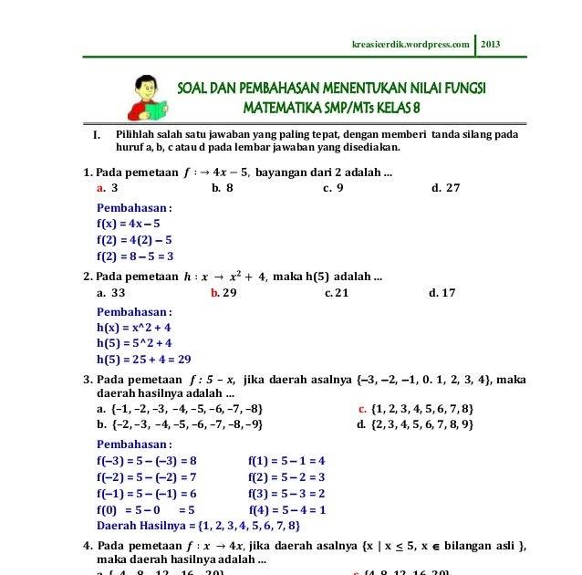 Apakah garis itu melalui titik p(2, 3) d. Fungsi Linear Matematika Ekonomi Pdf - Ruang Soal
