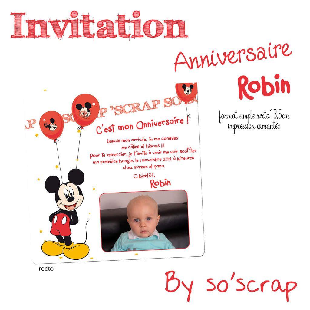 carte d invitation anniversaire mickey