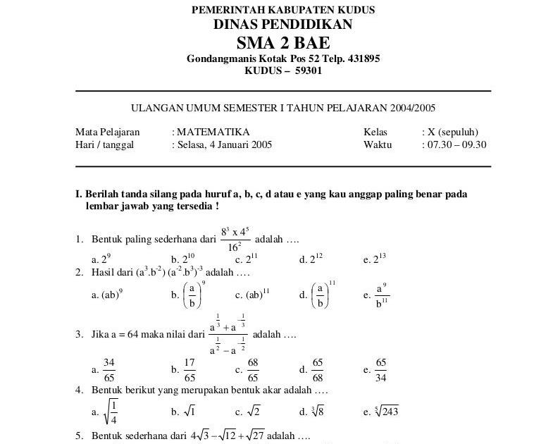 28/01/2021· download soal uas matematika sma kelas x, xi dan xii semester 1 …. Soal Dan Jawaban Matematika Kelas 12 Smk Semester 1