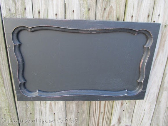 repurposed armoire door into chalkboard
