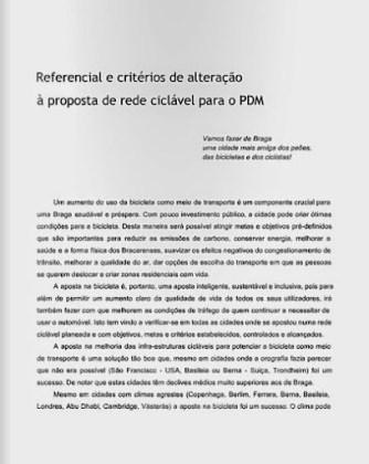 Referencial e critérios de alteração à proposta de rede ciclável para o PDM de Braga