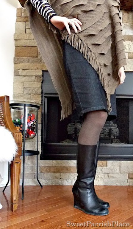 brown cape with black white striped turtleneck, denim pencil skirt and black wedge boots3