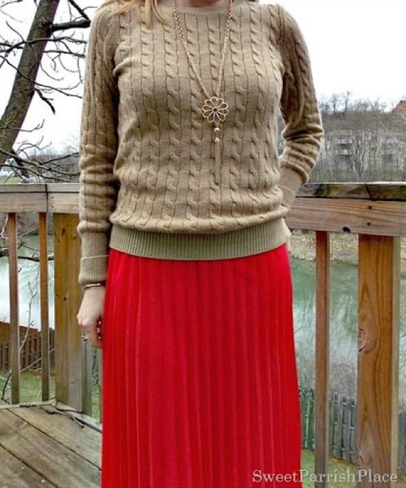 red maxi skirt, tan sweater, leopard flats4