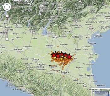 Locais de uma sequência de terremotos que atingiu a região.