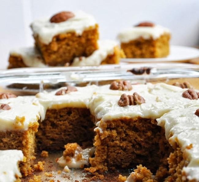 pumpkin cake bars reduced-fat 105