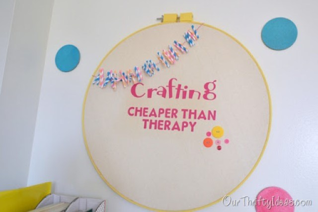 Put a saying inside an embroidery hoop using Cricut's new Iron On Vinyl. Then embellish and hang on the wall for a great statement.