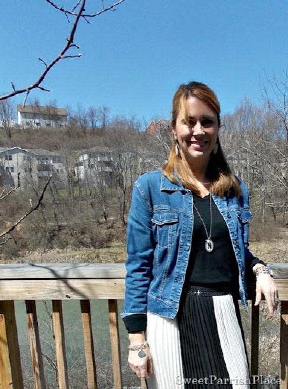 black and white striped maxi skirt, black shirt, Denim jacket, zebra flats3