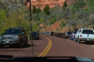 trailhead areas all jammed in Zion Canyon