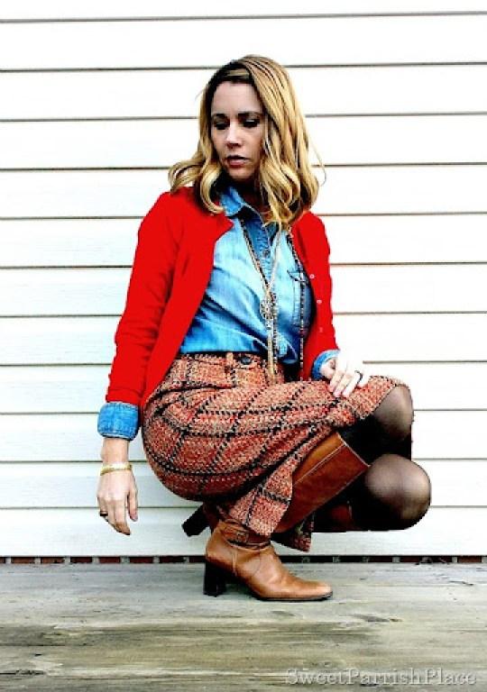 plaid tweed skirt, denim shirt, red cardigan and tall boots1