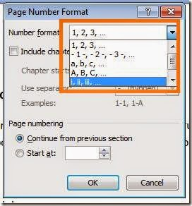 format permulaan nomer halaman
