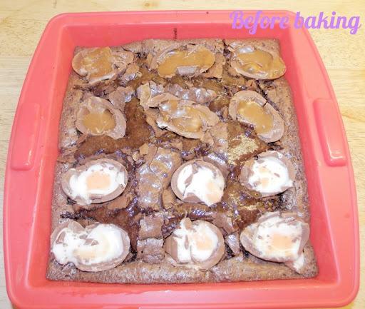 Creme egg brownie before baking