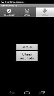 Pantalla Barajar