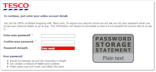 Tesco online registration page with 'Password Storage Statement: Plain text' displayed