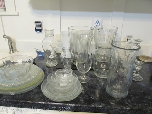 repurposed glassware sorted into like varieties