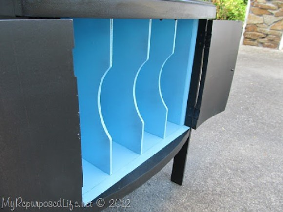 black and aqua vintage record cabinet
