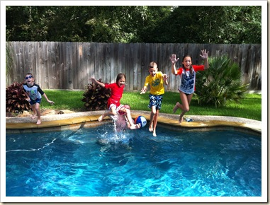 cousin camp in the pool