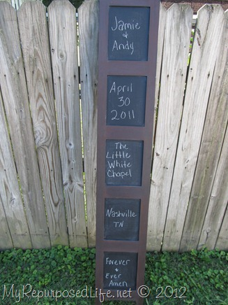 My Repurposed Life-chalkboard display for wedding
