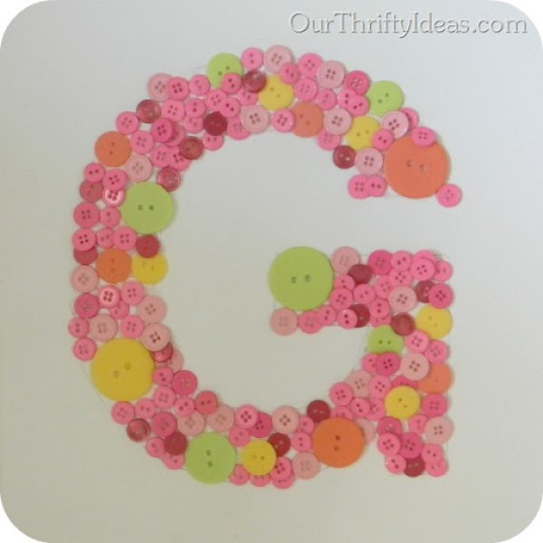Button Letter on Canvas 4