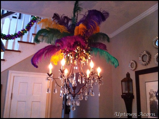 In The Stair Parlor I Love To Adorn Chandelier Purple Green And Gold Plumes It Reminds Me Of Those Great Headdresses You Might See At