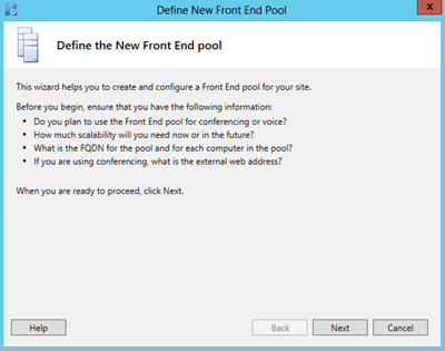 define new pool
