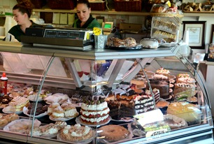the famous cakes at Sherman's Deli in Palm Springs