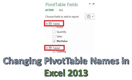 1 Changing PivotTable names in Excel 2013
