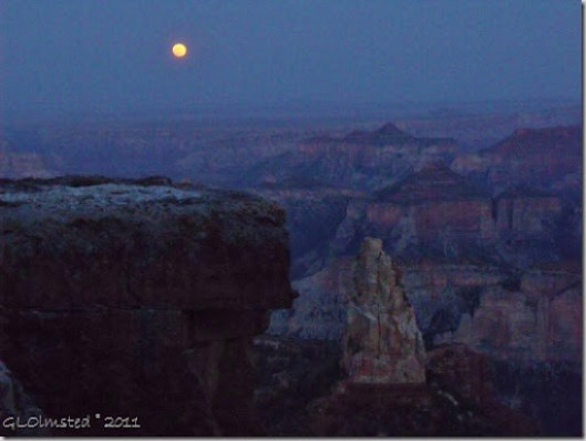 Mt Haden under full moon from Point Imperial North Rim Grand Canyon National Park Arizona