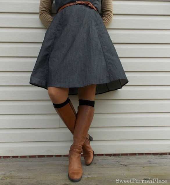 Grey denim dress with brown boots3