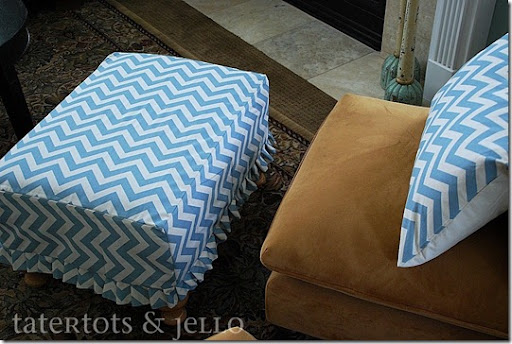 chevron ottoman and pillows