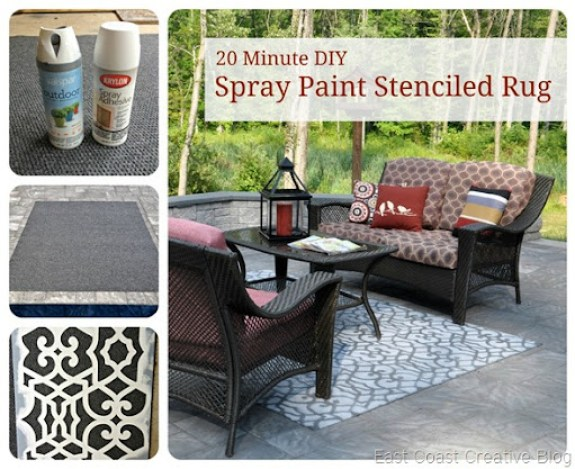 Spray Paint Stenciled Rug