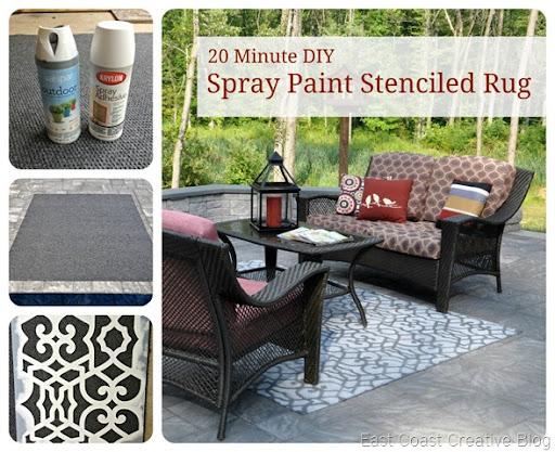 Spray Paint Stenciled Rug